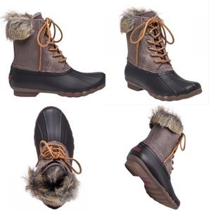 NWOT Sperry Top Sider Fur Trim Duck Boots